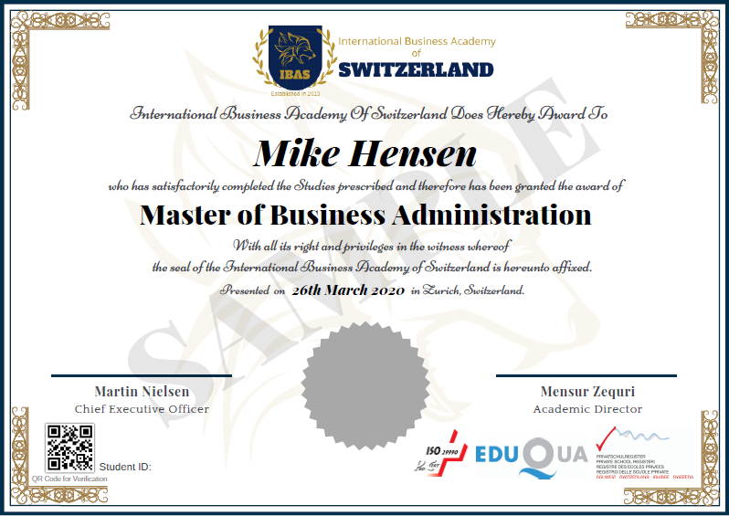 Sample Master of Business Administration (MBA) Diploma Certificate - no specialisation