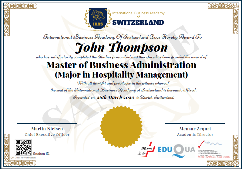 Sample MBA Hospitality Management Diploma Certificate